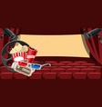 cinema movie hall icons set cartoon style vector image vector image