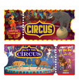 circus tickets with clown juggler and animals vector image