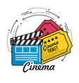 clapperboard with cinema tickets scene vector image
