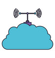 cloud service and transmission antenna icon in vector image vector image