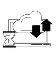 computer with cloud transfer and hourglass in vector image vector image
