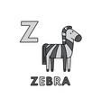 cute cartoon animals alphabet zebra vector image