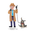 detective looking through magnifying glass and dog vector image vector image