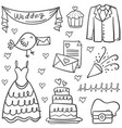 doodle of wedding object various vector image vector image