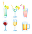 drinks set with different beers and cocktails vector image vector image