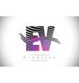 ev e v zebra texture letter logo design vector image vector image