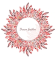 Feather round frame decoration vector image vector image