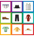 flat icon clothes set of singlet underclothes vector image vector image