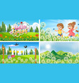 four background scenes with children and animals vector image