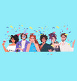 friends celebrating birthday party mix race people vector image