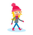 girl teenage walking cartoon vector image