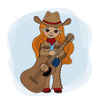 guitar player cowgirl music festival illust vector image