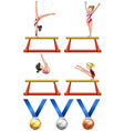 Gymnastics and woman athletes vector image vector image
