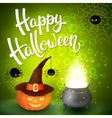 Halloween greeting card with hat pumpkin spiders vector image vector image