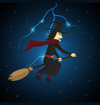 halloween witch flying on broom and thunderbolt vector image vector image