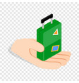 hand holding a travel suitcase isometric icon vector image vector image
