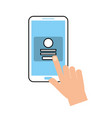 hand touch mobile phone webpage login security vector image
