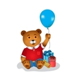 Happy birthday greeting card with bear vector image vector image