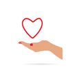 heart in hand love vector image vector image