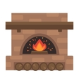 Home fireplace with fire vector image