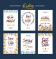 invitation cards for wedding with calligraphy vector image