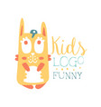 kids logo funny squirrel original design baby vector image