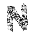 Letter N made from houses alphabet design vector image
