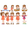 Little girl in different actions vector image vector image