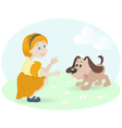 little girl with happy dog vector image vector image