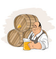 man and beer barrels vector image