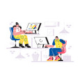 man and woman working in office vector image vector image