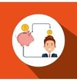 man cartoon piggy currency money vector image