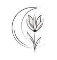 minimalist tattoo half moon flower line art herb vector image vector image