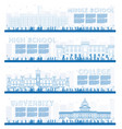 outline set of university high school and college vector image