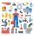 plumbing plumber character repairing pipes vector image
