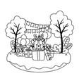 reindeer cartoon with happy birthday icon design vector image