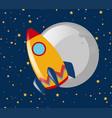 rocket ride to the moon at night vector image