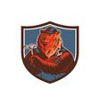 Russian Bear Builder Handyman Crest Woodcut vector image vector image