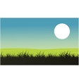 Silhouette of grass with moon landscape vector image vector image