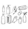 sketch sanitizer bottle personal protective vector image
