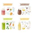 smoothie drink recipe set vector image