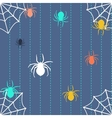 Stripy background with spiders and web vector image vector image