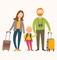 traveling family on vacation happy family with vector image vector image