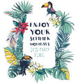 tropical floral summer beach party invitation vector image vector image