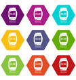 watches icons set 9 vector image