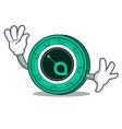 waving siacoin character cartoon style vector image vector image