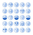 blue flat icons of emoticons smile with a beard vector image