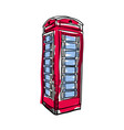 london red phone booth hand drawn isolated icon vector image