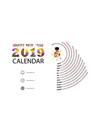 2019 calendar templatespiral calendar vector image vector image