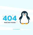 404 page not found with crying pinguin vector image vector image